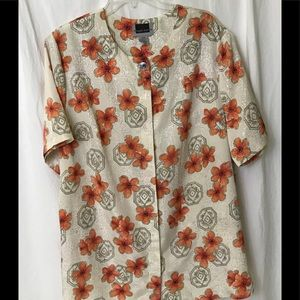Maggie Barnes 22W Woman's Floral Polyester Blouse